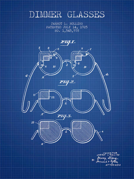 Wall Art - Digital Art - Dimmer Glasses Patent From 1925 - Blueprint by Aged Pixel