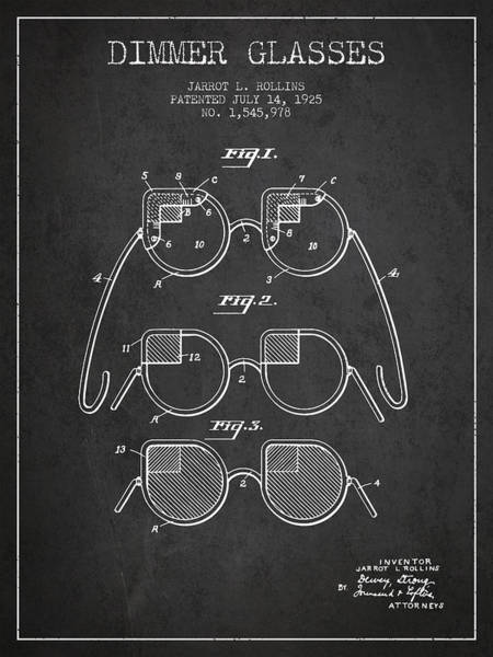Wall Art - Digital Art - Dimmer Glasses Patent From 1925 - Dark by Aged Pixel