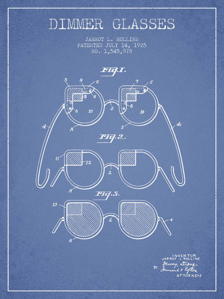 Wall Art - Digital Art - Dimmer Glasses Patent From 1925 - Light Blue by Aged Pixel