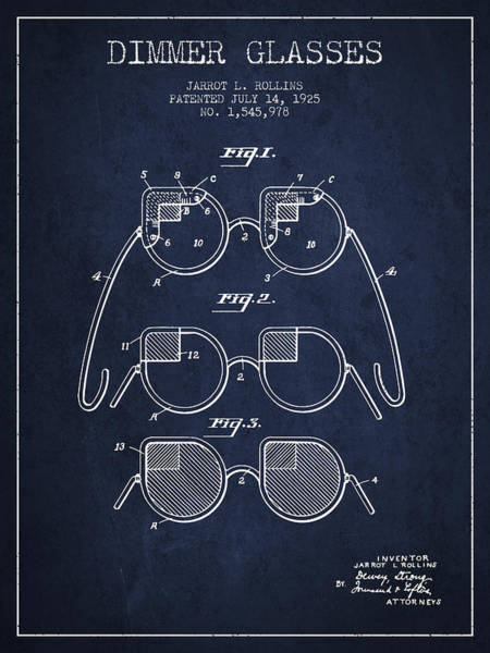 Wall Art - Digital Art - Dimmer Glasses Patent From 1925 - Navy Blue by Aged Pixel
