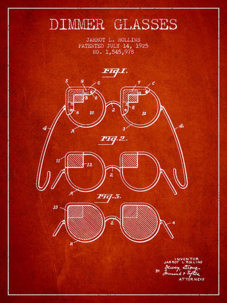 Wall Art - Digital Art - Dimmer Glasses Patent From 1925 - Red by Aged Pixel
