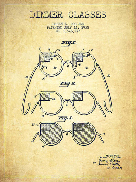 Wall Art - Digital Art - Dimmer Glasses Patent From 1925 - Vintage by Aged Pixel