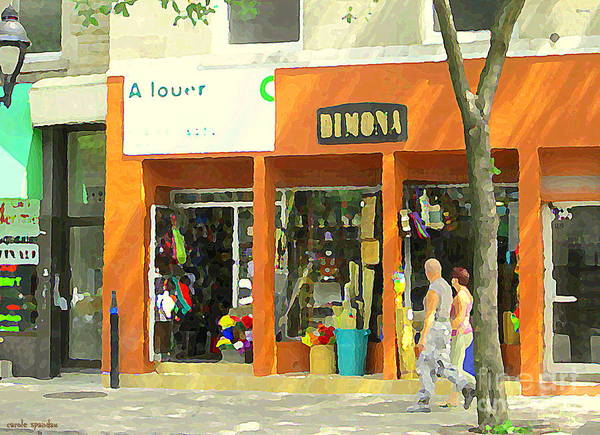 Painting - Dimona Latin Quarter Romantic Morning Summer Stroll Pretty Streets Montreal City Scene C Spandau by Carole Spandau