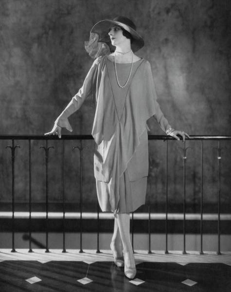 Scallop Photograph - Dinarzade Wearing A Crepe Dress by Edward Steichen