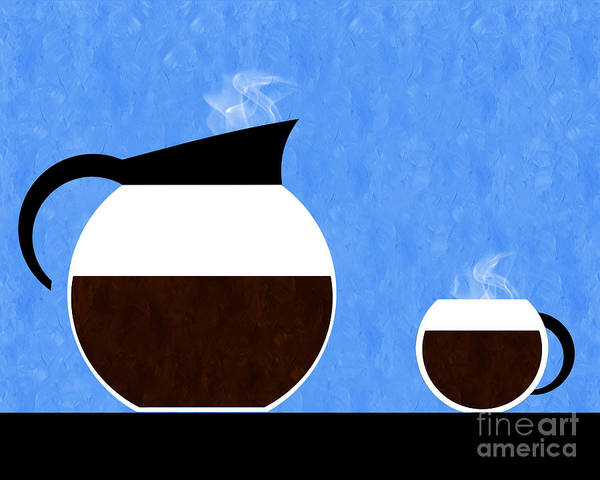 Digital Art - Diner Coffee Pot And Cup Blue by Andee Design
