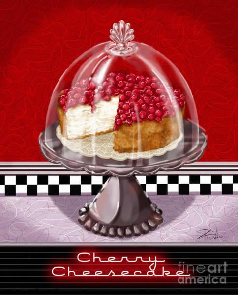 Wall Art - Mixed Media - Diner Desserts - Cherry Cheesecake by Shari Warren