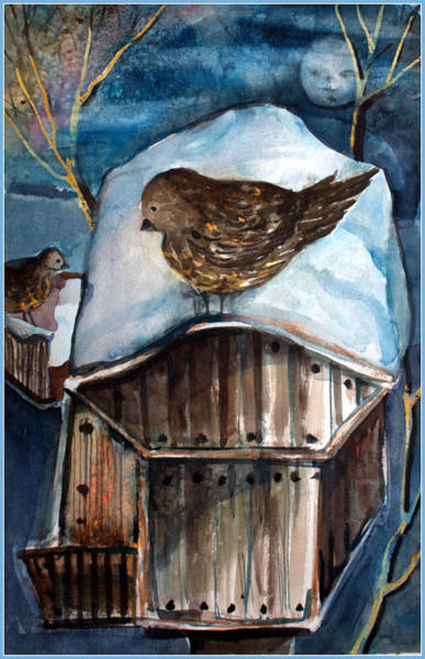 Birdhouse Painting - Dining By Moonlight by Mindy Newman