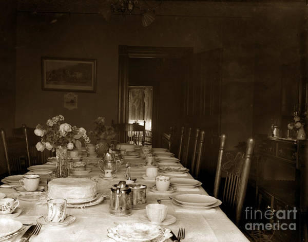 Photograph - Dining Room Table Circa 1900 by California Views Archives Mr Pat Hathaway Archives