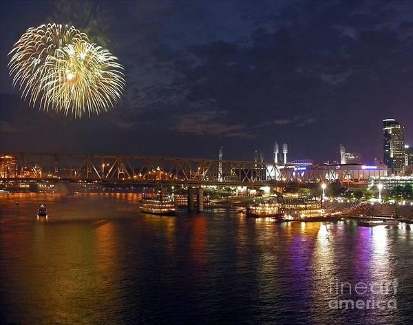 Fireworks Show Wall Art - Photograph - Dinner And A Show 1 by Mel Steinhauer
