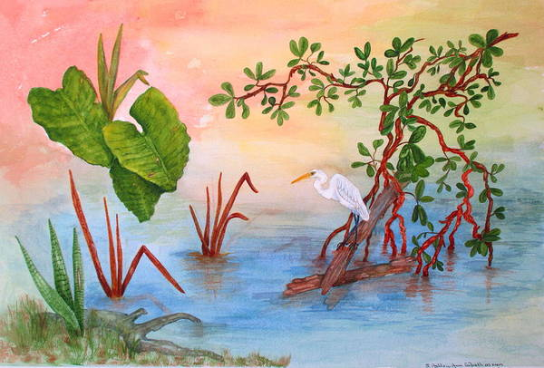 Captiva Island Painting - Dinner At Charleys by Ashley Goforth
