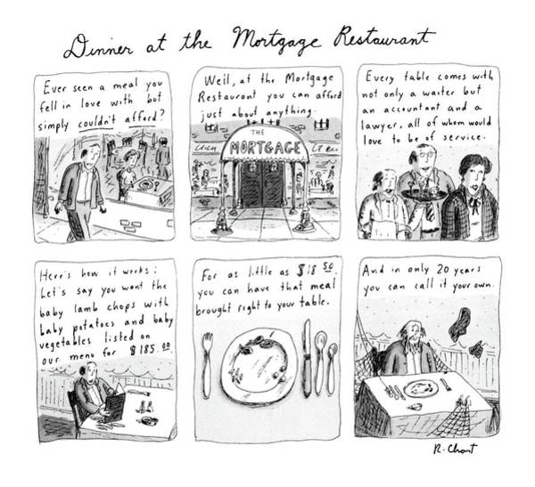 Rich Drawing - Dinner At The Mortgage Restaurant by Roz Chast