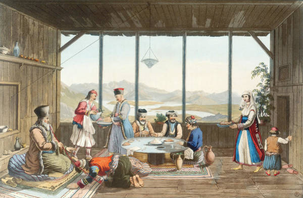 Honour Wall Art - Drawing - Dinner Held At Delphi In Honour by Edward Dodwell