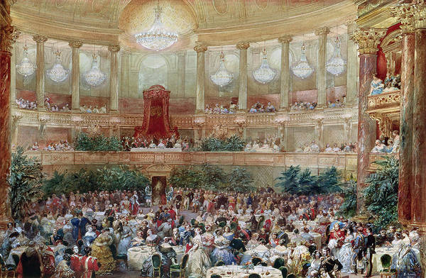 Ballroom Painting - Dinner In The Salle Des Spectacles At Versailles by Eugene-Louis Lami