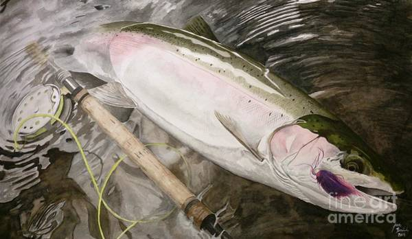 Salmon Painting - Dinner by Jbs Water on Cotton