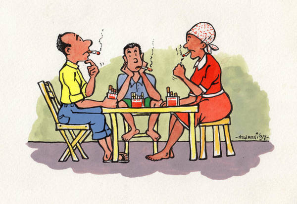 Light Blue Drawing - Dinner Time by Anthony Mwangi