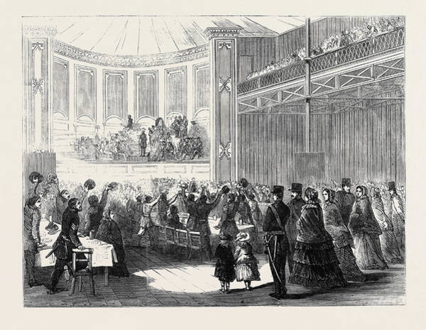 Brigade Drawing - Dinner To The 68th Regiment In The Crystal Palace by English School