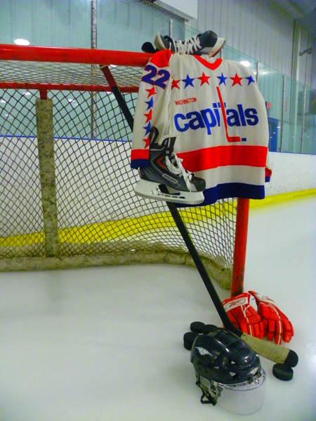 Photograph - Dino Ciccarelli Washington Capitals Vintage Home Hockey Jersey by Lisa Wooten