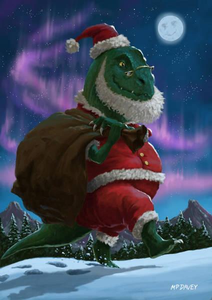 Dinosaur Christmas Santa Out In The Snow Art Print