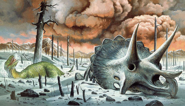 Catastrophe Photograph - Dinosaur Extinction by Christian Jegou Publiphoto Diffusion/ Science Photo Library