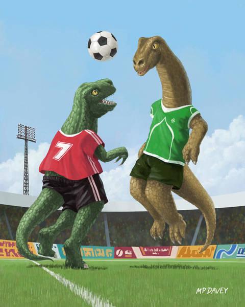Wall Art - Painting - Dinosaur Football Sport Game by Martin Davey