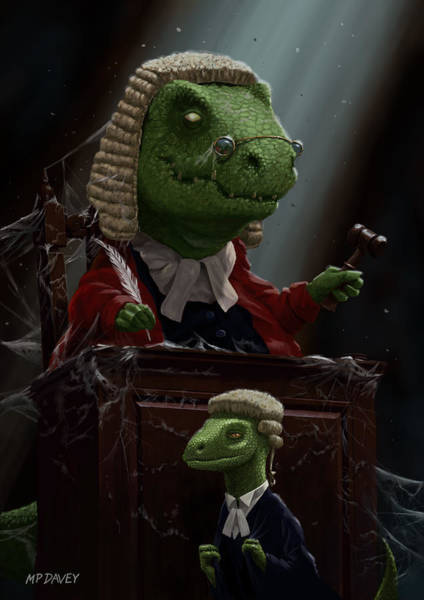 Digital Art - Dinosaur Judge In Uk Court Of Law by Martin Davey
