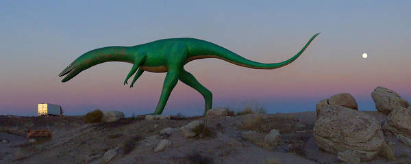 Semi Truck Photograph - Dinosaur Loose On Route 66 2 Panoramic by Mike McGlothlen
