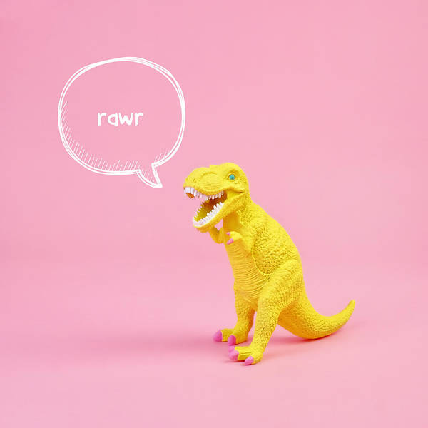 Text Bubble Photograph - Dinosaur Rawr by Juj Winn