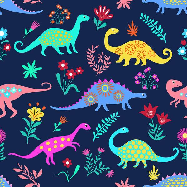 Digital Art - Dinosaurs Cute Kids Pattern For Girls by Dudi-art