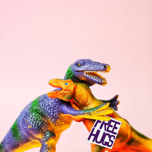 Laughing Photograph - Dinosaurs Hugging by Juj Winn