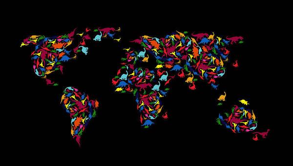 Work Of Art Photograph - Dinosaurs Map Of The World   by Mark Ashkenazi
