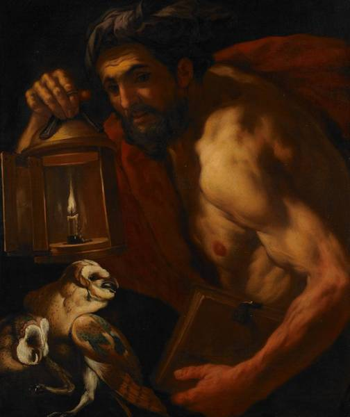 Owl Painting - Diogenes by Johann Karl Loth