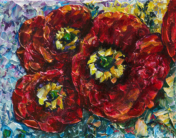 Painting - Diptych 1 Piece Painting Of Poppies Palette Knife Oil by OLena Art - Lena Owens