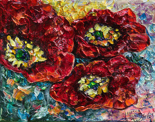 Painting - Diptych 2 Piece Painting Of Poppies Palette Knife Oil by OLena Art - Lena Owens
