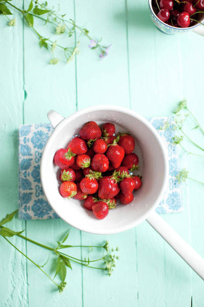 Colander Wall Art - Photograph - Directly Above Shot Of Strawberries In by Sonja Dahlgren