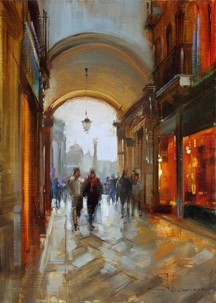Narrow Street Painting - Directly To Piazza San Marco. Venice. by Alexey Shalaev