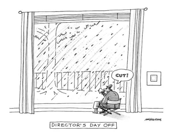 Megaphone Drawing - Director's Day by Mick Stevens