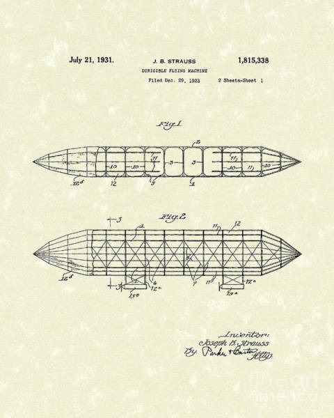 Flying Drawing - Dirigible 1931 Patent Art by Prior Art Design