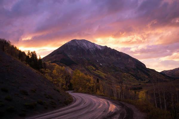 Wall Art - Photograph - Dirt Mountain Road At Sunset, Crested by Brandon Huttenlocher