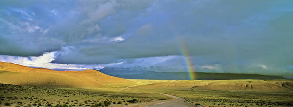 Andes Photograph - Dirt Road With Rainbow, Altiplano by Martin Zwick