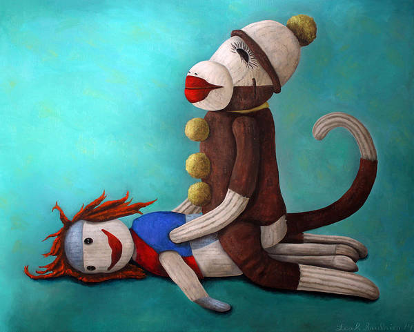 Sock Monkey Painting - Dirty Socks 4 Edit 2 by Leah Saulnier The Painting Maniac