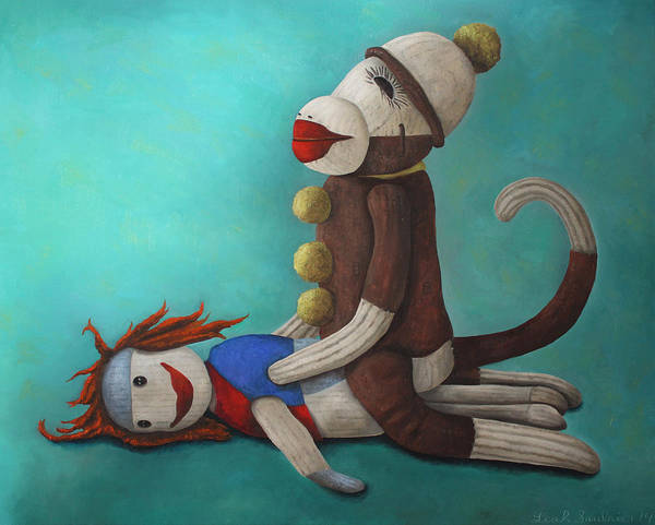 Sock Monkey Painting - Dirty Socks 4 by Leah Saulnier The Painting Maniac