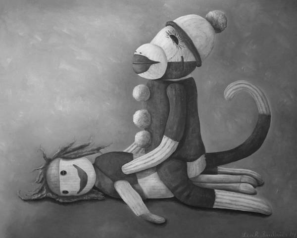 Sock Monkey Painting - Dirty Socks 4 Sepia by Leah Saulnier The Painting Maniac
