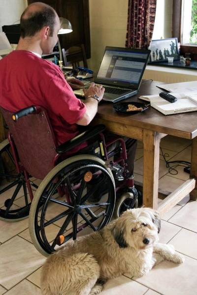 Wall Art - Photograph - Disabled Computer User by Claire Deprez/reporters/science Photo Library
