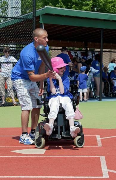 Softball Photograph - Disabled Girl Playing Baseball by Jim West