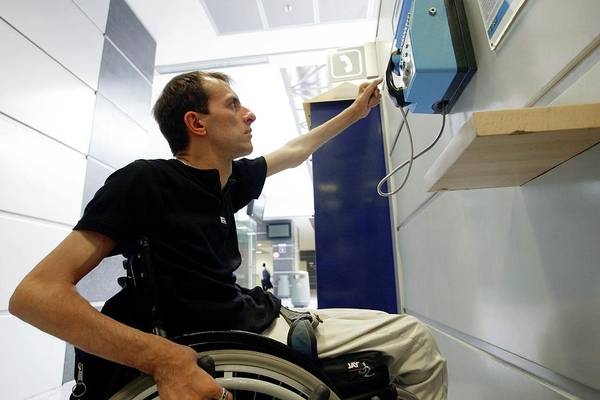 Reach Out Wall Art - Photograph - Disabled Living by John Thys/reporters/science Photo Library