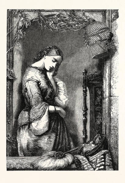 Caucasian Drawing - Disappointment. Unhappy, Person, Sad, Disappointed, Young by Alfred Joseph Woolmer (1805?1892), English