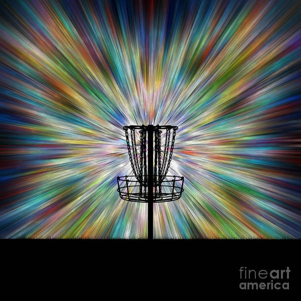 Disc Golf Basket Silhouette Art Print