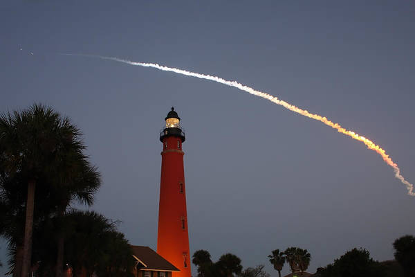 Photograph - Discovery Booster Separation Over Ponce Inlet Lighthouse by Paul Rebmann