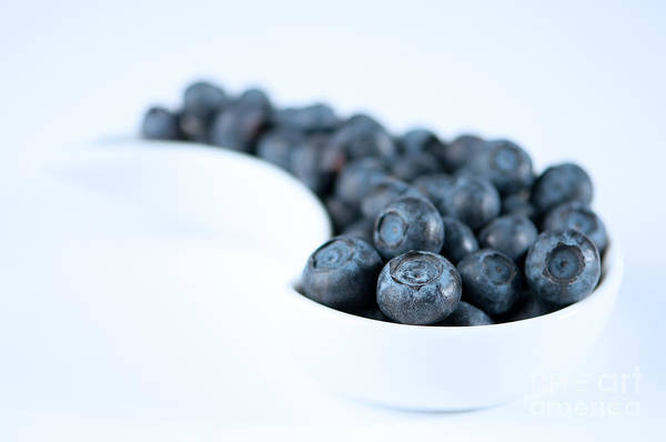 Blue Berry Photograph - Dish Of Blueberries by Amanda Elwell