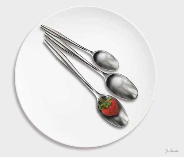 Wall Art - Photograph - Dish Spoons And Strawberry by Joe Bonita